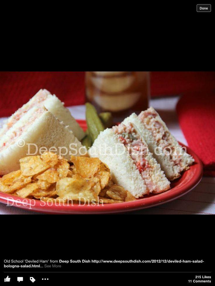 Yum, Deviled Ham Sanwiches | Tea party | Pinterest