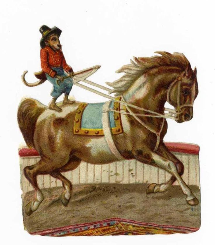 CIRCUS MONKEY Riding Horse - Victorian Die Cut - 1880 s - 3 3/4 inches High