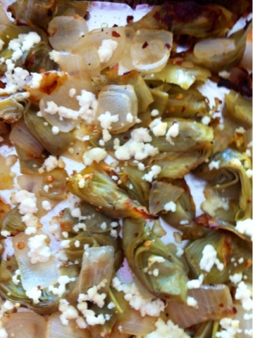 Roasted artichoke hearts w/ goat cheese | Recipes | Pinterest