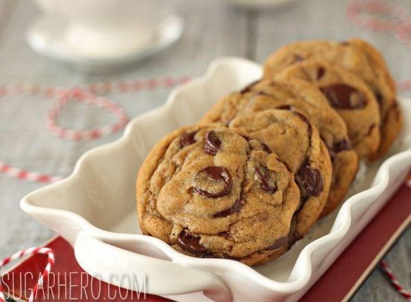 Gingerbread Chocolate Chip Cookies   SugarHero.com