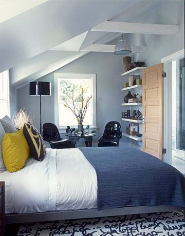 liking the grey-blue walls with mustard/yellow, white, and brown accents. you?