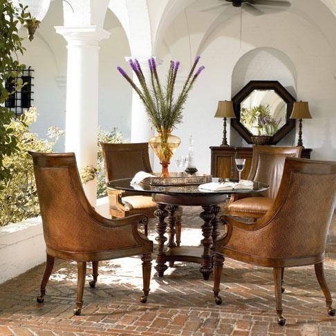 Ernest hemingway pepica round table w glass top by thomasville hudson 39 s furniture kitchen - Thomasville kitchen table ...