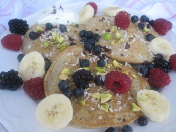 and Coconut Flour Pancakes topped with Banana, Wild Fruits, Cacao nibs ...