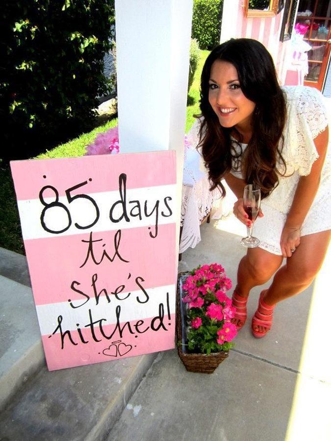 Countdown sign for a bridal shower. Such a cute idea