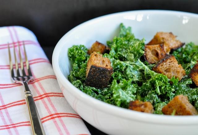 vegan kale caesar salad with multi-grain croutons | Marin Mama Cooks