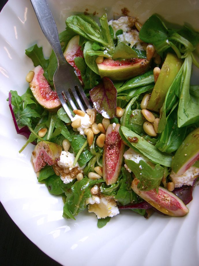 Fresh fig, ricotta and honey salad with pine nuts, pumpkin seeds and ...