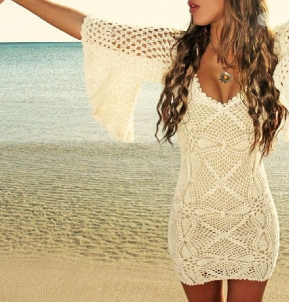Gorgeous crochet lace knit dress, boho chic fashion. modern hippie trend. For MORE Bohemian looks FOLLOW http://www.pinterest.com/happygolicky/the-best-boho-chic-fashion-bohemian-jewelry-boho-w/