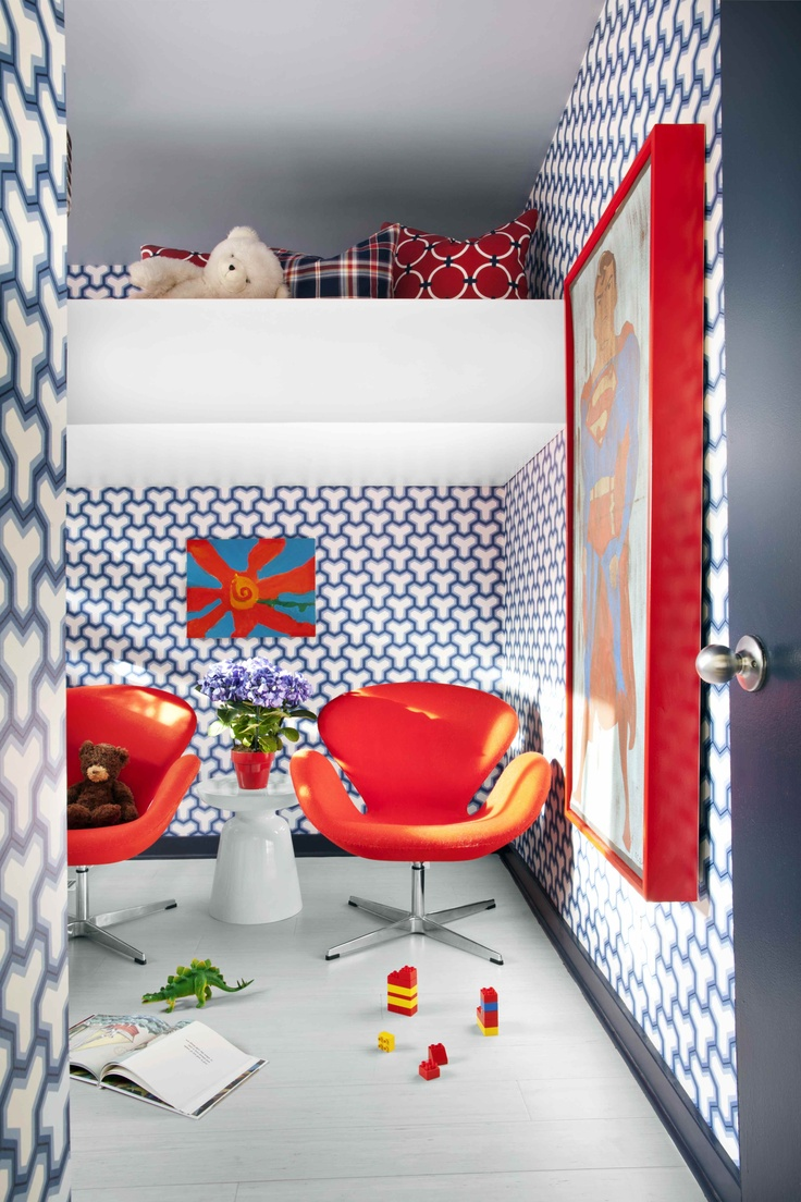 Red + blue color palette + Loft bed complete with sitting area