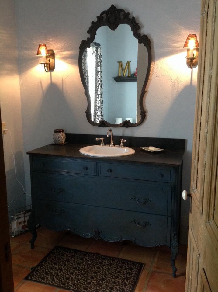 Old dresser into bathroom vanity want decorating for Turning a dresser into a bathroom vanity