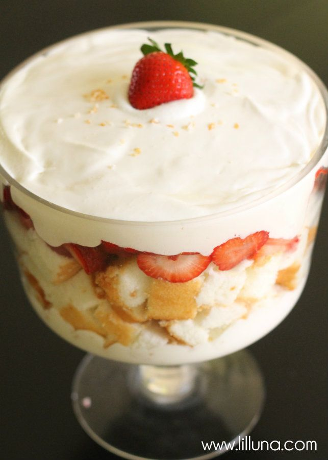 Strawberries and Cream Angel Food Cake Trifle | Recipe