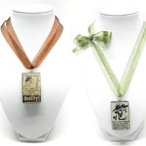 Ribbon Necklaces with Ceramic Pendants