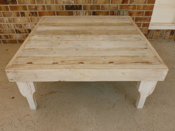 Large Antique White Square Reclaimed Wood Coffee Table With Removable Legs Via Etsy If Wishes