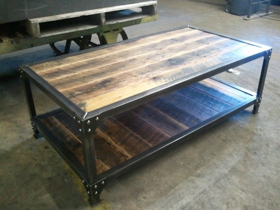 Reclaimed Wood Coffee Table Iron Rustic Industrial Design Pinter