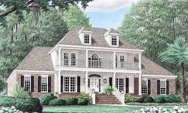 Colonial Country Southern House Plan 67039