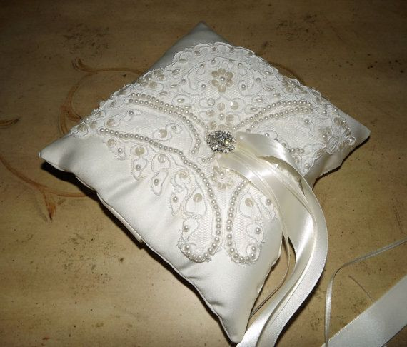 Wedding Ring Bearer Pillow Hand Beaded Alencon Lace Ivory Satin Bu