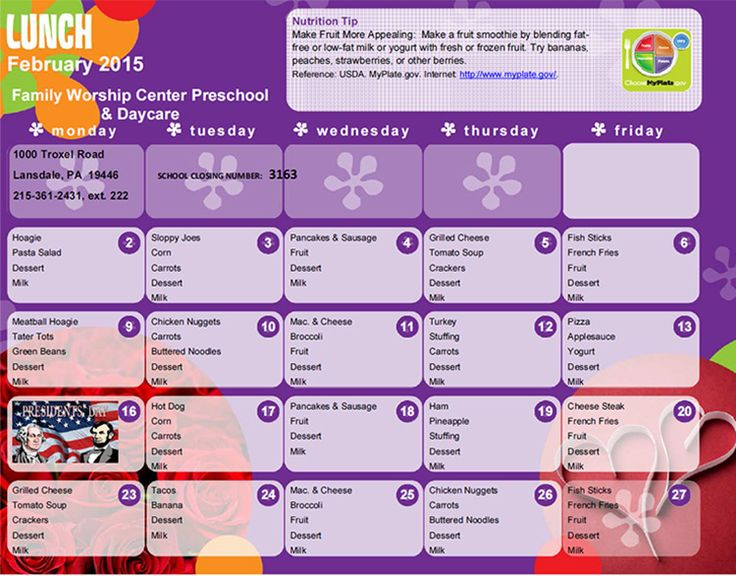 school cycle menu template datariouruguay - daycare meal plan