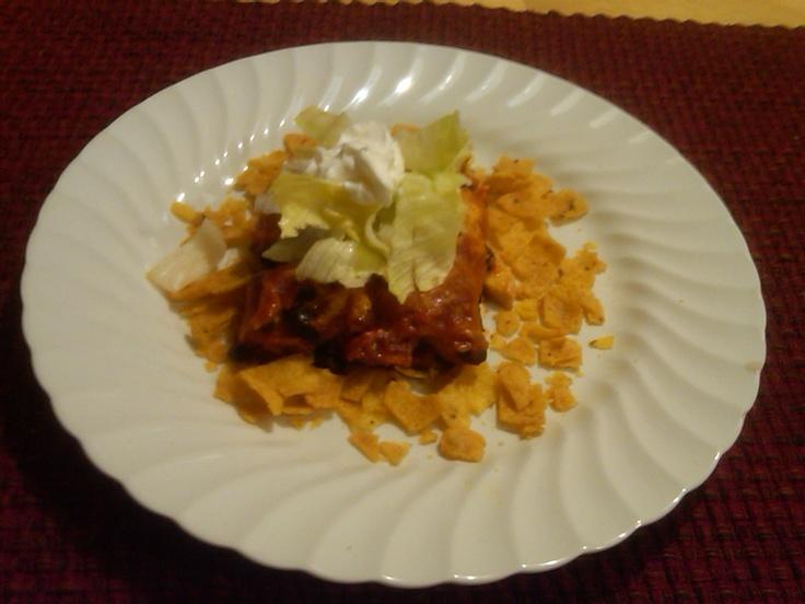 Chicken Enchilada Casserole! Layer red enchilada sauce, crunched up ...