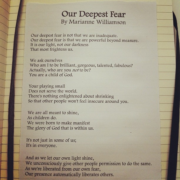 summary of our deepest fear essay Keywords: coach carter essay, coach carter movie analysis our deepest fear is that we are powerful beyond measure it is our light, not our darkness that world.