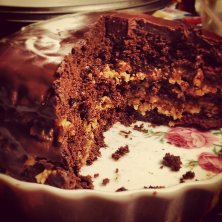 Inside-out German chocolate cake, recipe from Epicurious. Delish.