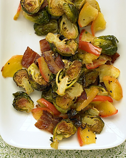 Roasted Brussels Sprouts w/ Apple & Bacon (delish - even if you don't...