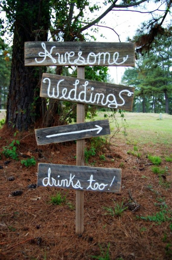 Rustic Wedding Signs Cursive OR Print Reclaimed Wood Directional Arr