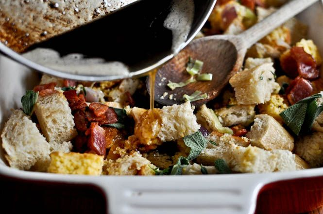 Double Bread Stuffing with Brown Butter, Bacon and Sage - Heaven ...