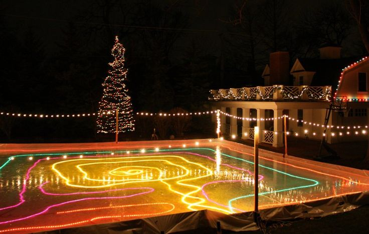 Backyard Rink Lighting :  home built ice rink in Illinois home backyard lucky family