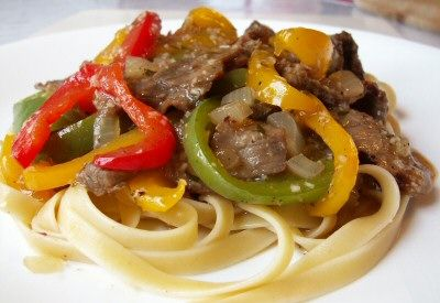 Spicy Sweet Pepper Steak over Noodles | yumm | Pinterest