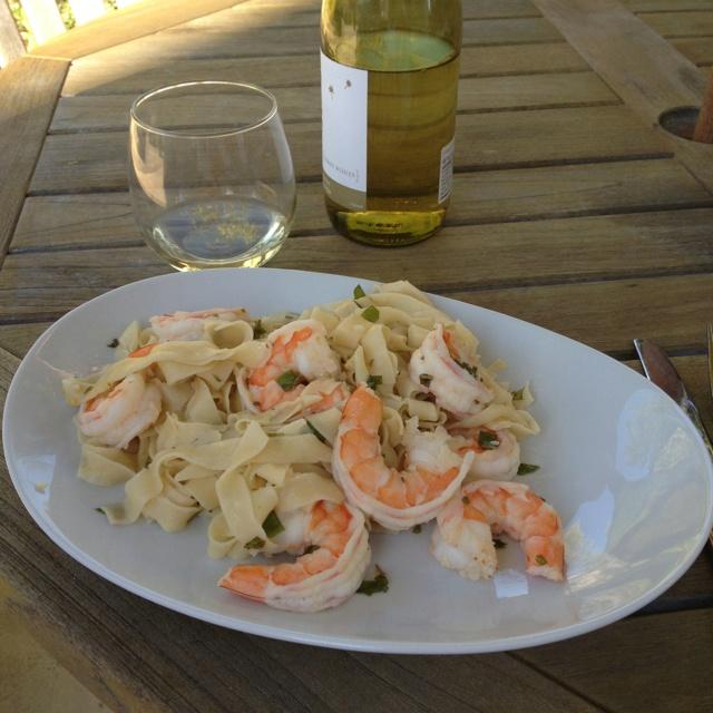 Easy dinner - Meyer lemon pasta, shrimp, tossed with sauce=olive oil ...