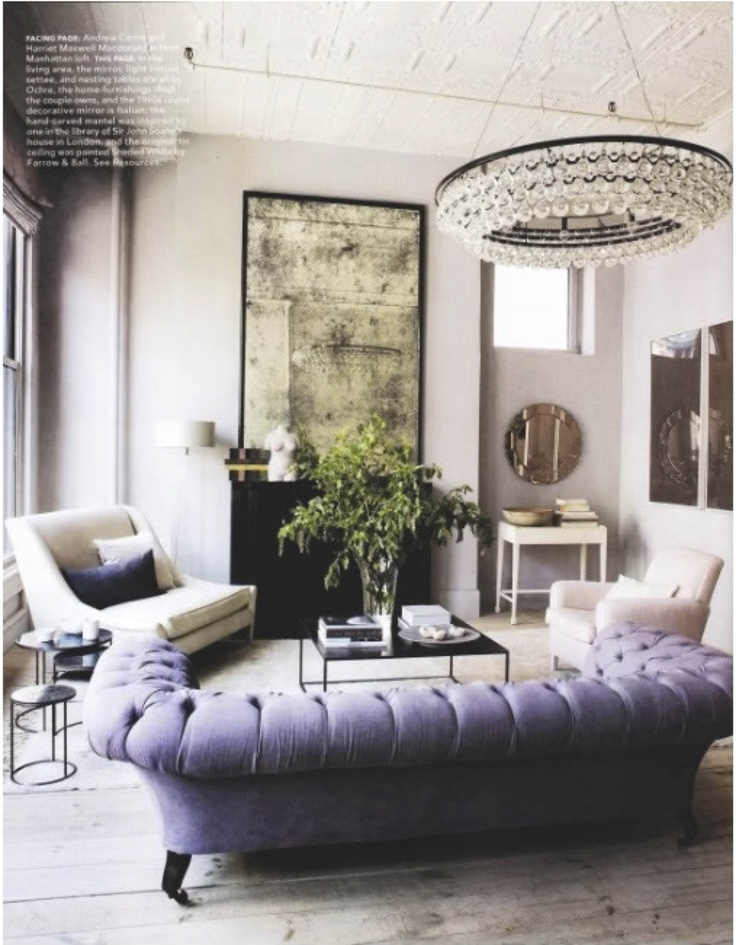 Love the purple sofa cream chairs living room pinterest for Purple and cream living room ideas