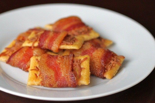 Bacon Wrapped Club Crackers (I've done these before and they were yum!)