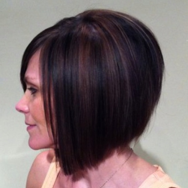 Slightly inverted bob with copper and black highlights/lowlights ...
