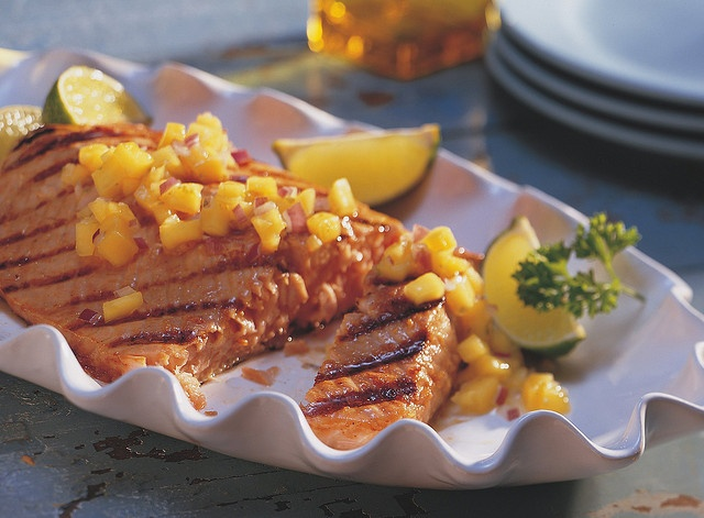 Grilled Ginger-Teriyaki Salmon with Honey-Mango Salsa by Betty Crocker ...
