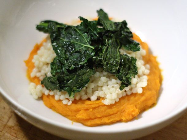 Couscous with Sweet Potato Puree and Kale Chips | Recipe