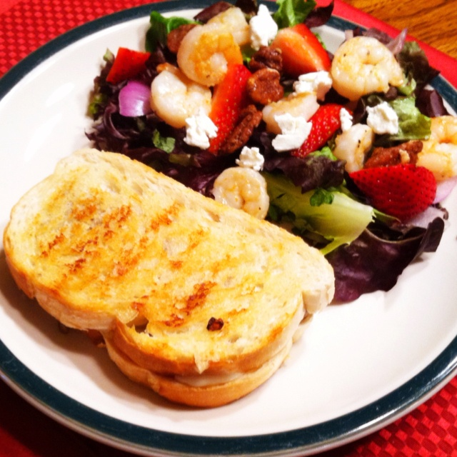 pepper shrimp, strawberry and goat cheese salad with grilled Brie ...