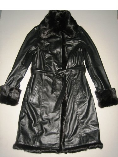 Women's 100 % Lamb Leather Trench Coat with Rabbit Fur Collar ! (XXL) $269.00