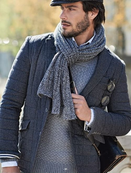 Heathered Grey Quilted Jacket, Sweater, Driving cap, and Scarf. Men's Fall winter Fashion.