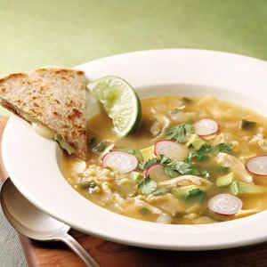 Caldo Tlalpeno.    Although there are many variations of this Mexican chicken soup, spicy chipotle chiles are always part of the broth. Make it a meal: Serve with a Mexican beer and cheese quesadillas.