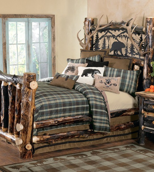 Rustic Bedroom Furniture Collection: Aspen Log and Antler Bed with Metal Art Bear