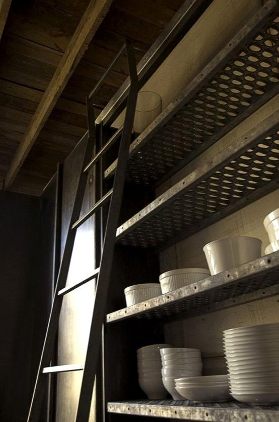 Industrial Open Shelving And Ladder Kitchens Pinterest