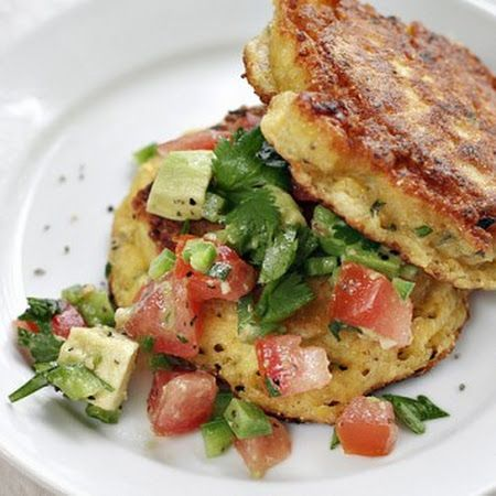 Summer Corn Cakes With Chopped Tomato & Avocado Salsa