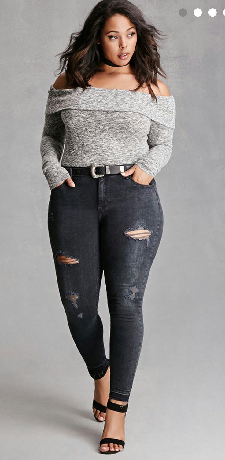 Plus size fashion skinny jeans 75