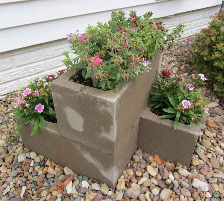 Cement block planter herbs garden and flowers pinterest - Maceteros de cemento ...