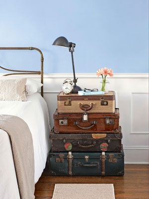 """Another great idea for old suitcases; bedside """"table"""" and storage too!"""