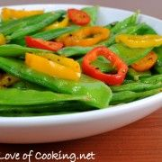 Sesame snow peas and peppers - I like finding good side recipes.