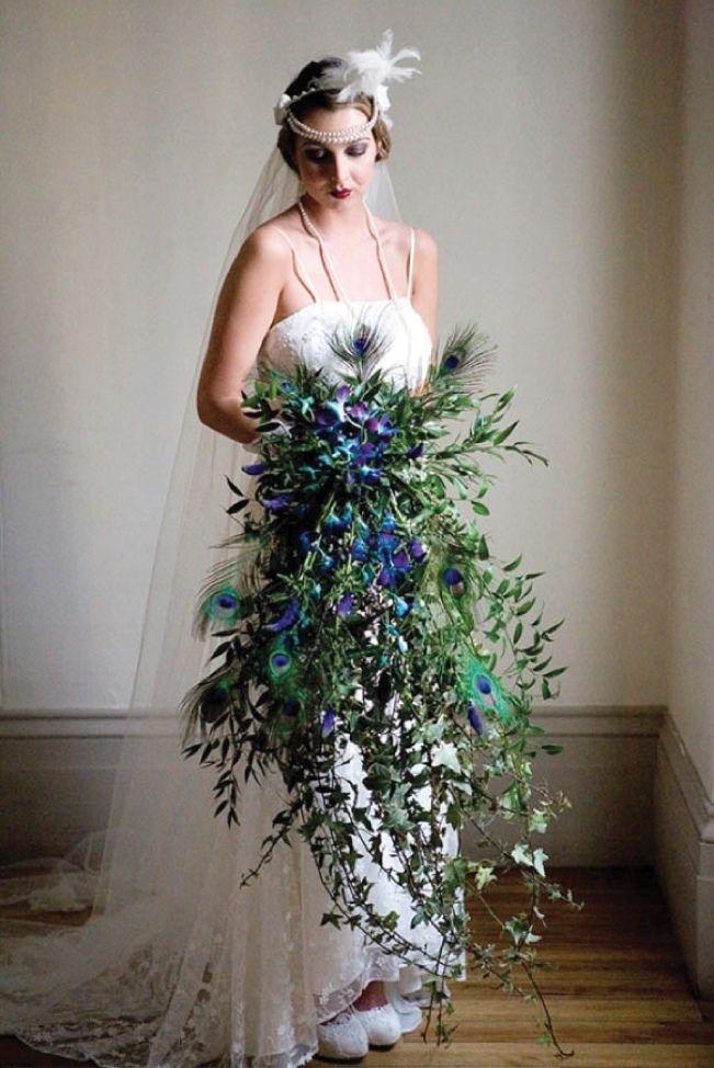 Peacock color wedding dress
