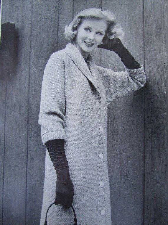 Knitted Sweater Coat Pattern - 1950s Vintage Pattern, Womens Knit C?