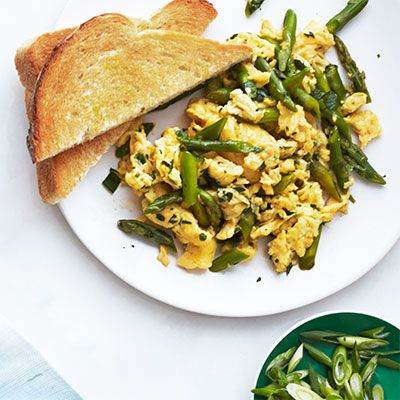 Asparagus, Mint, and Parmesan Scramble #myplate #protein #vegetables # ...