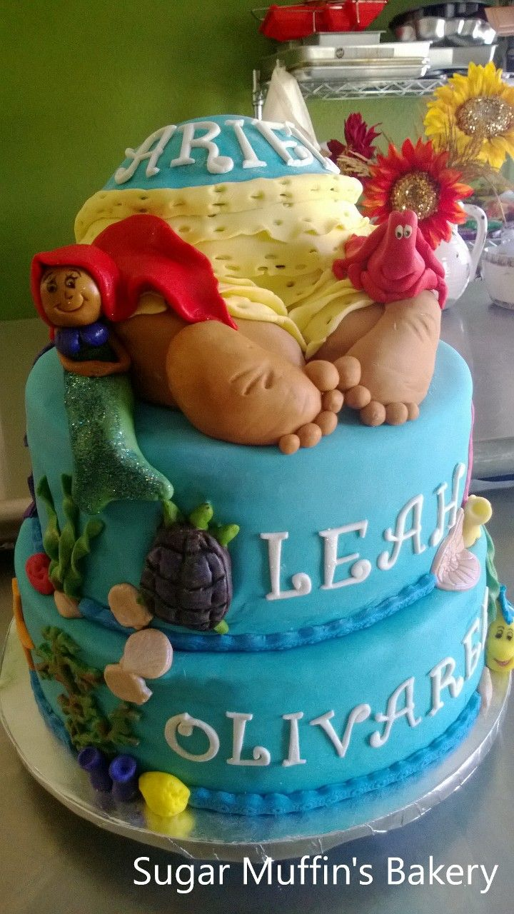 with marshmallow fondant the little mermaid themed baby shower cake