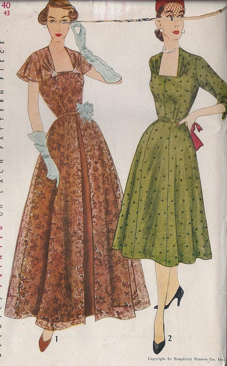 1950S Women evening dress | Vintage 1950s Womens Dress Sewing Pattern, Afternoon Or Evening ...